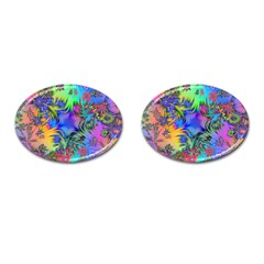 Star Abstract Colorful Fireworks Cufflinks (oval)