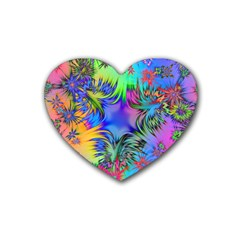 Star Abstract Colorful Fireworks Rubber Coaster (heart)