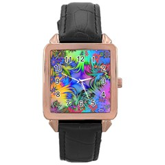 Star Abstract Colorful Fireworks Rose Gold Leather Watch