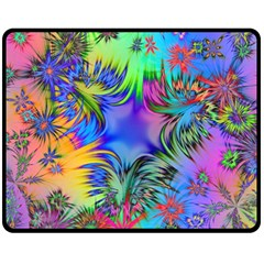 Star Abstract Colorful Fireworks Double Sided Fleece Blanket (medium)