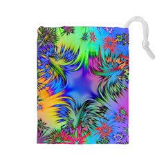Star Abstract Colorful Fireworks Drawstring Pouches (large)  by Nexatart