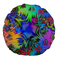 Star Abstract Colorful Fireworks Large 18  Premium Flano Round Cushions