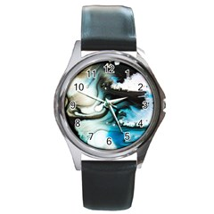 Abstract Painting Background Modern Round Metal Watch