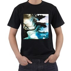 Abstract Painting Background Modern Men s T Shirt (black) (two Sided)