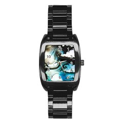 Abstract Painting Background Modern Stainless Steel Barrel Watch