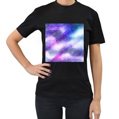 Background Art Abstract Watercolor Women s T Shirt (black) (two Sided)