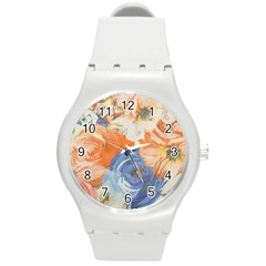Texture Fabric Textile Detail Round Plastic Sport Watch (m)