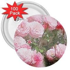 Flowers Roses Art Abstract Nature 3  Buttons (100 Pack)