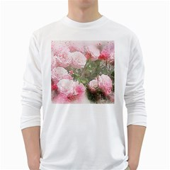 Flowers Roses Art Abstract Nature White Long Sleeve T Shirts