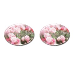 Flowers Roses Art Abstract Nature Cufflinks (oval)