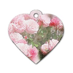 Flowers Roses Art Abstract Nature Dog Tag Heart (one Side)