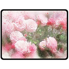 Flowers Roses Art Abstract Nature Fleece Blanket (large)