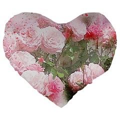 Flowers Roses Art Abstract Nature Large 19  Premium Heart Shape Cushions