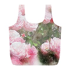 Flowers Roses Art Abstract Nature Full Print Recycle Bags (l)