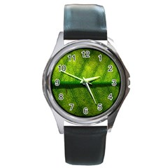 Leaf Nature Green The Leaves Round Metal Watch