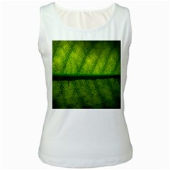 Leaf Nature Green The Leaves Women s White Tank Top