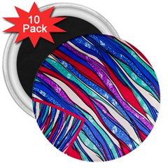 Texture Pattern Fabric Natural 3  Magnets (10 Pack)