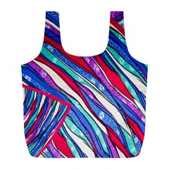 Texture Pattern Fabric Natural Full Print Recycle Bags (l)