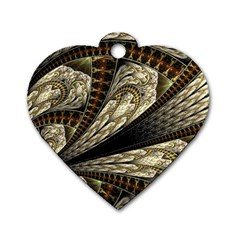 Fractal Abstract Pattern Spiritual Dog Tag Heart (one Side)