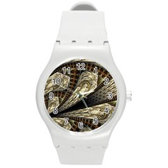Fractal Abstract Pattern Spiritual Round Plastic Sport Watch (m)