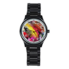 Background Art Abstract Watercolor Stainless Steel Round Watch