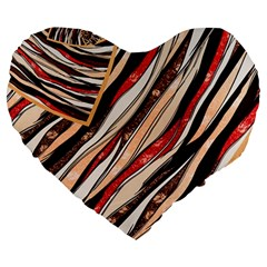 Fabric Texture Color Pattern Large 19  Premium Heart Shape Cushions