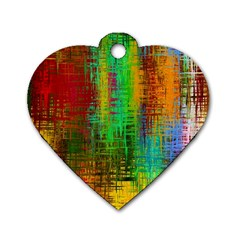 Color Abstract Background Textures Dog Tag Heart (two Sides)