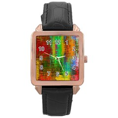 Color Abstract Background Textures Rose Gold Leather Watch