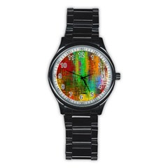 Color Abstract Background Textures Stainless Steel Round Watch