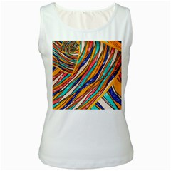 Fabric Texture Color Pattern Women s White Tank Top