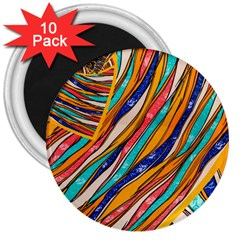 Fabric Texture Color Pattern 3  Magnets (10 Pack)