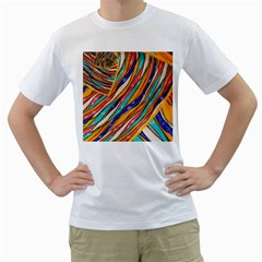 Fabric Texture Color Pattern Men s T Shirt (white) (two Sided)