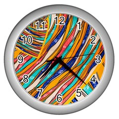 Fabric Texture Color Pattern Wall Clocks (silver)