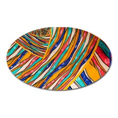 Fabric Texture Color Pattern Oval Magnet