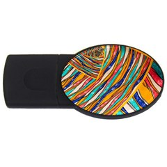 Fabric Texture Color Pattern Usb Flash Drive Oval (2 Gb)