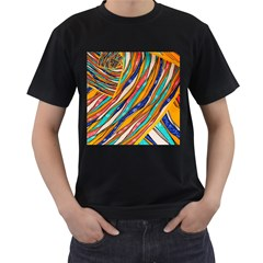 Fabric Texture Color Pattern Men s T Shirt (black) (two Sided)