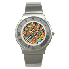 Fabric Texture Color Pattern Stainless Steel Watch