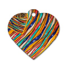 Fabric Texture Color Pattern Dog Tag Heart (two Sides)