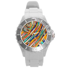 Fabric Texture Color Pattern Round Plastic Sport Watch (l)