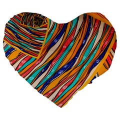 Fabric Texture Color Pattern Large 19  Premium Heart Shape Cushions by Nexatart
