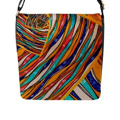 Fabric Texture Color Pattern Flap Messenger Bag (l)