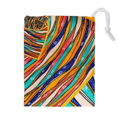 Fabric Texture Color Pattern Drawstring Pouches (extra Large) by Nexatart