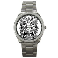 Japanese Onigawara Mask Devil Ghost Face Sport Metal Watch by Alisyart