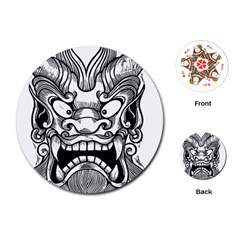 Japanese Onigawara Mask Devil Ghost Face Playing Cards (round)  by Alisyart
