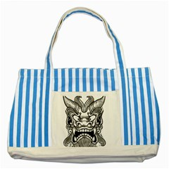 Japanese Onigawara Mask Devil Ghost Face Striped Blue Tote Bag by Alisyart