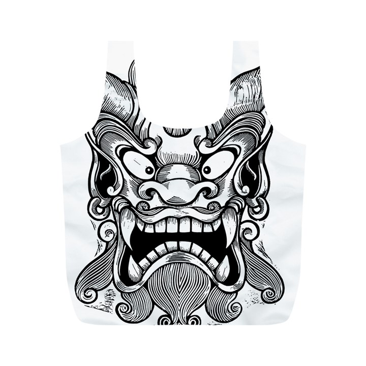 Japanese Onigawara Mask Devil Ghost Face Full Print Recycle Bags (M)