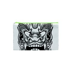 Japanese Onigawara Mask Devil Ghost Face Cosmetic Bag (xs) by Alisyart