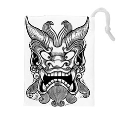 Japanese Onigawara Mask Devil Ghost Face Drawstring Pouches (extra Large) by Alisyart