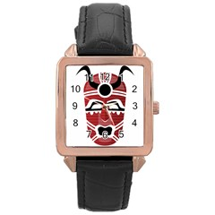 Africa Mask Face Hunter Jungle Devil Rose Gold Leather Watch  by Alisyart