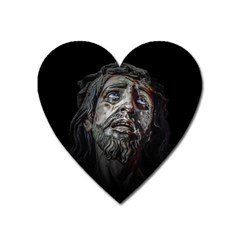 Jesuschrist Face Dark Poster Heart Magnet by dflcprints